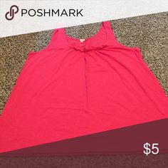 J.Crew Tank Top J.Crew coral tank top with decorative ruffle at neckline. Runs large and could also fit a medium. J. Crew Tops Tank Tops