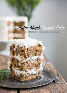 Paleo Maple Carrot Cake recipe from My Paleo Patisserie + Book Review // Recipe: http://eatdrinkpaleo.com.au/paleo-carrot-cake-recipe-plus-my-paleo-patisserie-review/