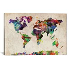 World Map Urba Watercolor II by Michael Tompsett – Hearts Attic