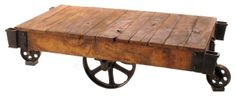 Industrial Loft Reclaimed Railroad Cart Coffee Tables eclectic coffee tables