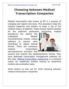 Choosing between Medical Transcription Companies