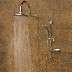 Aqua Rain Shower System, Silver Finish, Rain Shower Head, Chrome Fixtures