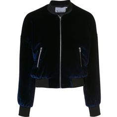 T By Alexander Wang classic bomber jacket ($690) ❤ liked on Polyvore featuring outerwear, jackets, blue, t by alexander wang, velvet bomber jacket, blouson jacket, flight jackets and bomber style jacket