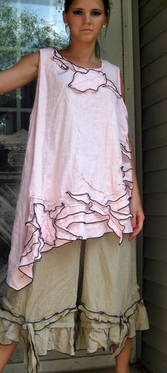 Pink Linen Vines Tank M by sarahclemensclothing on Etsy, $129.00