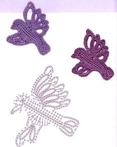 Little crochet flat bird silhouette patterns with charts found at THIS Russian site.