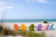 Sanibel Island: girls only--look, there's a chair for me, Margaret, Rachel, Anna, Olivia, & my sister.