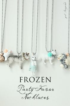 These DIY Frozen party favor necklaces are easy to make and look SO pretty!