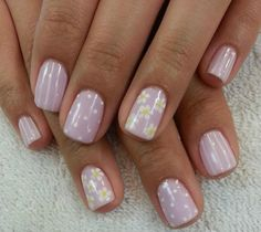 Beautiful delicate nails, Daisy nails, Delicate spring nails, Easy nails for girls, Feminine nails, Gentle shellac nails, Nails for polka-dot dress, Nails for spring dress