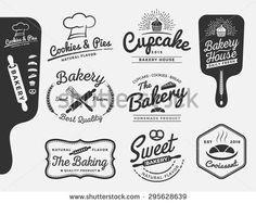 Set of bakery and bread logo labels design for sweets shop, bakery shop, cake shop, restaurant, bake shop  Vector illustration  All types used free commercial font - Shutterstock