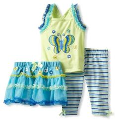 Young Hearts Baby-girls Infant 3 Piece Pullover With Skirt And Pant, Green, 24 Months Young Hearts. $20.79