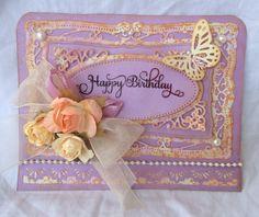Happy Birthday Handmade Card Lavender. I used Spellbinders Dies. Made by Craft Me a Card.