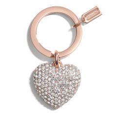 The Pave Rose Gold Heart Key Ring from Coach -- SO CUTE! I REALLY DO NEED A NEW ONE :)