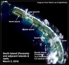 North Island of the Paracels, and reef including South Sand. South China Sea.