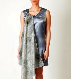SALE Party silk dress hand painted scarf medium small by Relogyyy, $175.00