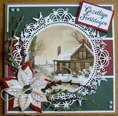 Die Cut Christmas Cards, Christmas Topper, Beautiful Christmas Cards, Xmas Cards, Holiday Cards, Handmade Christmas, Christmas Crafts, Marianne Design, Winter Cards