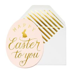 Our Happy Easter Egg is letterpress printed by hand on antique machinery. Gold foil on pale pink paper, paired with a white envelope and gold foil stripe liner.
