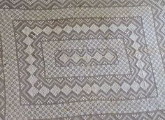 "Vintage Lace Tablecloth Off-White Ecru Large Rectangular 58"" x 72"""