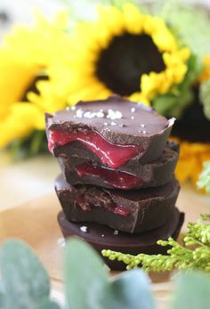 #paleo #paleomg Salted Raspberry Caramel Chocolate Cups