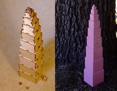 montessori Pink Tower, nested cubes - build it yourself from laser-cut parts, or ready-to-use - plus extras on Etsy, $17.50