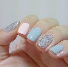 Ideas hair blue and pink nail nail Blue Nail Designs, Creative Nail Designs, Nail Designs Spring, Creative Nails, Nude Nails, Acrylic Nails, Gel Nails, Nail Nail, Pink Blue Nails