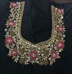 To get your personalized blouse pls what's app on 7299852557 - Salvabrani Hand Work Embroidery, Hand Embroidery Designs, Embroidery Dress, Embroidery Transfers, Wedding Saree Blouse Designs, Pattu Saree Blouse Designs, Maggam Work Designs, Motifs Perler, Techniques Couture