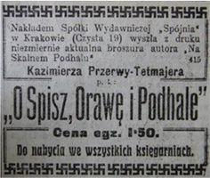 """Reklama pierwszego wydania """"Na skalnym Podhalu"""" Kazimierza Przerwy-Tetmajera. Ogłoszenie ozdobiono szlaczkiem ze swastyk, jako międzywojennego znaku góralszczyzny"""