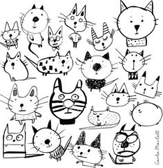Draw it 20 ways - our favourites announced! Doodle Drawings, Animal Drawings, Doodle Art, Art Carton, Tier Doodles, Animal Doodles, Cat Drawing, Cat Art, Art Lessons