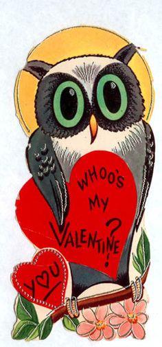 Whoo's my valentine? Y<3U - Owl Vintage Valentine