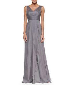 Gray wedding dress. Simple, elegant, flawless. Under $300, by Amsale.