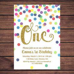 Rainbow Gold 1st Birthday Invitation Girl, Any Age Rainbow Dots and Gold Girl First Confetti Birthday Invitation, Polka Dot Printable 852