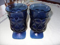 2 Noritake Crystal Glass Blue Spotlight Ice Tea Water Goblets Glasses-VGC #Noritake