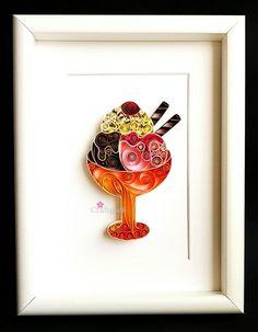 Ice Cream Quilled Paper Art,Free Shipping,Ice cream wall art, Modern nursery…