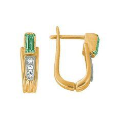 Золотые серьги  18888RS http://topchasy.ru/index.php?route=product/product&product_id=175716  Price:  115 140.00 р.Сеpьги с бриллиантами и изумрудом. 2 изумруда 0,48 карат: 6 бриллиантов 0,08 карат. Материал: желтое золото 750 пр. Средний вес: 5.1 гр..