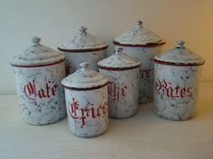 french enamel kitchen canisters set of six by joellecutro on Etsy,