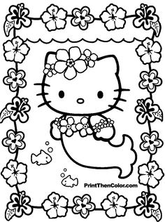 print coloring pages free | hello kitty coloring page of hello kitty dressed as a mermaid with ...