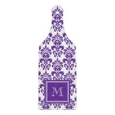Your Monogram, Dark Purple Damask Pattern Paddle Shaped Cutting Board