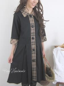[予約販売] ブラックウールとタータンジュエリーボタン羽織りワンピース