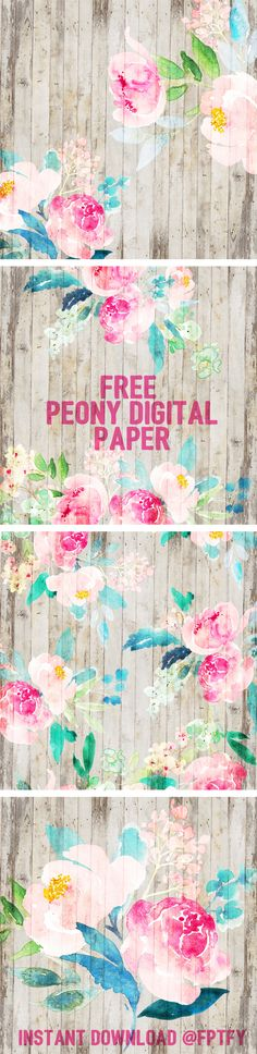Free Printable Peony Digital Paper from Free Pretty Things for You