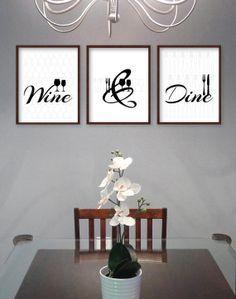 Style Cuisine Murale Art Dco Moderne Eat Drink Love Estampes Belles Couleurs Modernes Frais Les Tons De Gris Jaune Noir Et Blanc