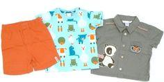 Bermuda, Kurzarmhemd und Shorts in knallig bunten Farbenvon H&M in Gr. 68.