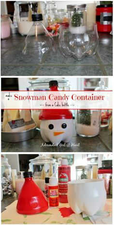 Recycled Snowman Candy Container