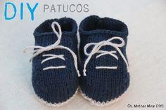 DIY como hacer patucos bebe de lana dos agujas (patrón patucos gratis)  Sandalias Para edcc7b92732