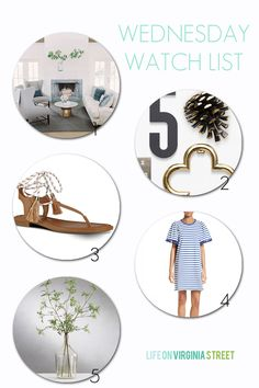 A farmhouse home tour, the best exterior hardware, cute and affordable summer sandals, a blue striped tassel dress and the best faux greenery!