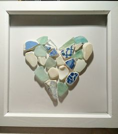 Broken Glass art - - Sea Glass art Grandparents - Stained Glass art With Glue Sea Glass Mosaic, Sea Glass Art, Stained Glass Art, Sea Glass Jewelry, Mosaic Art, Mosaics, Sea Glass Crafts, Sea Crafts, Seashell Crafts