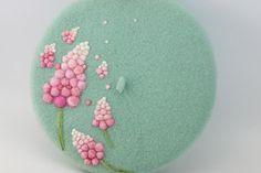 Wool beret with Needle felt flowerNeedle Felted by ElvesInGlass