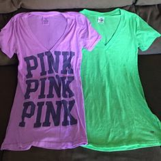 Lot of 2 Victoria Secret Pink V-Neck Shirts SizeXS Great used condition for both. The letters are not vinyl. Lightly faded. Great price. Lowest offer is price listed . Bundle to save money. No trades or Merc. Will fit XS or Small. PINK Victoria's Secret Tops Tees - Short Sleeve