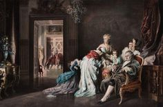 """Louis XVI and Marie Antoinette with their children at Versailles, October 6, 1789."" 19th-20th century, after a painting by von Benczur."