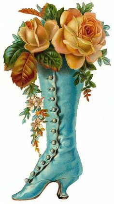 Floral arrangement in turquoise Victorian shoe.
