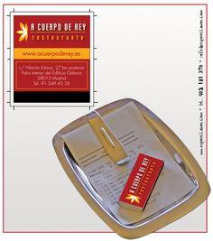 """Propuesta diseño cajas de cerillas modelo """"Hotel"""" para el restaurante A Cuerpo de Rey en Madrid."""