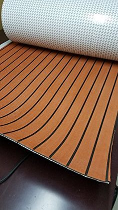 "EVA Foam Faux Teak Decking Sheet Light Brown Marine Boat 35"" X 91"" 6MM Thick"